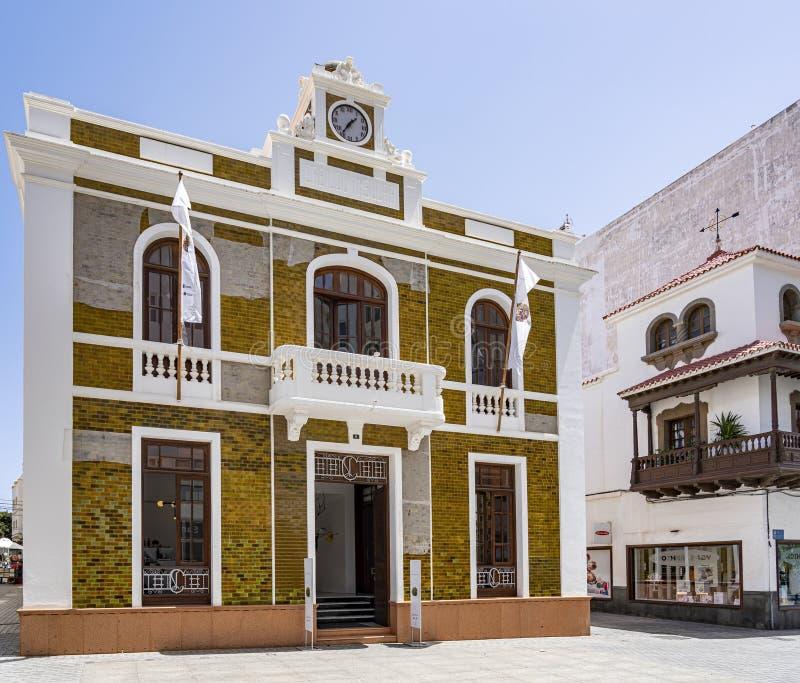 Panorama photo of the museum La Casa Amarilla in Arrecife, Lanzarote, Spain royalty free stock images
