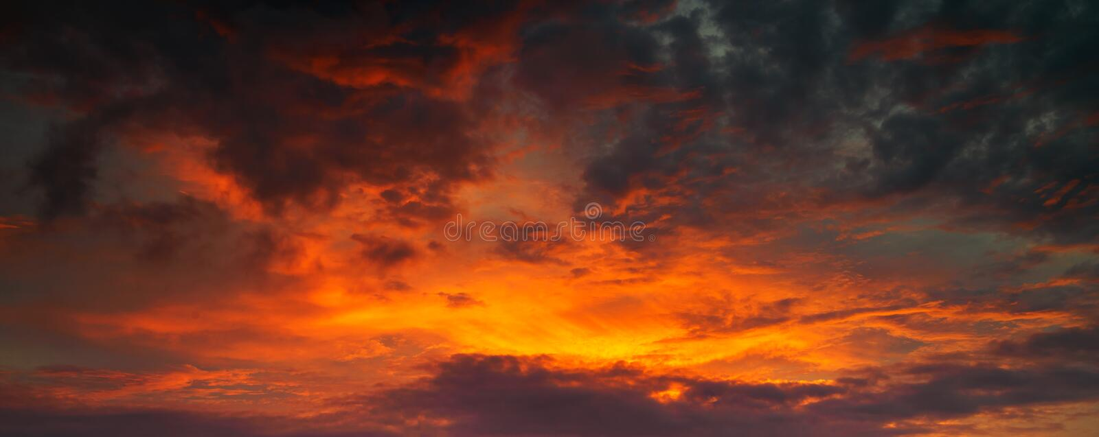 Panorama photo for Red and golden sky stock photography