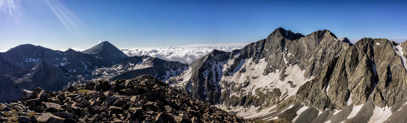 Panorama Photograph. Colorado Rocky Mountains, Sangre de Cristo Range. Featured is Blanca Peak, Ellingwood Point, and Little Bear Peak stock images