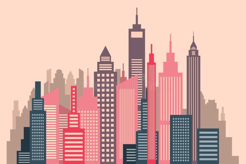 Panorama piano della città di progettazione di vettore dei grattacieli illustrazione di stock