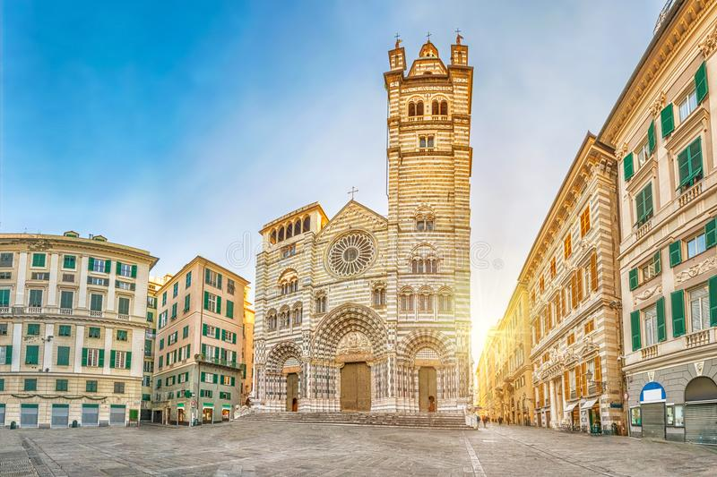 Panorama of Piazza San Lorenzo in the morning with Cathedral of. Cathedral of Genoa on sunrise - view from Piazza San Lorenzo square in Genoa, Liguria, Italy royalty free stock photos