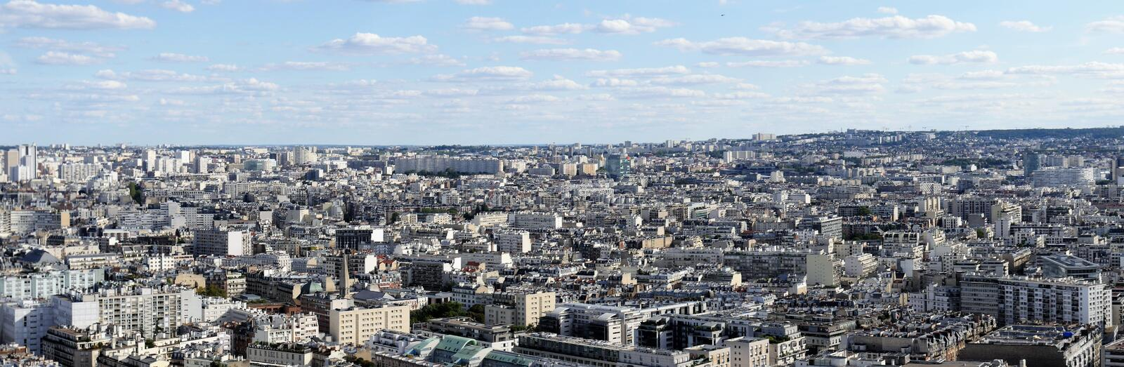 Panorama picture overview of the sea of ​​houses of Paris, urban life in a narrow space, view to the east royalty free stock images