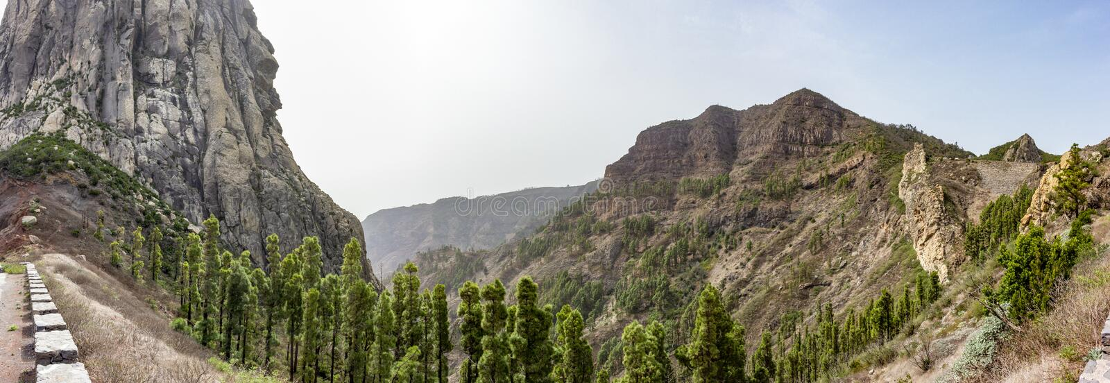 Panorama picture of the volcanic area at Los Roques on La Gomera Island near Tenerife, Spain royalty free stock photo