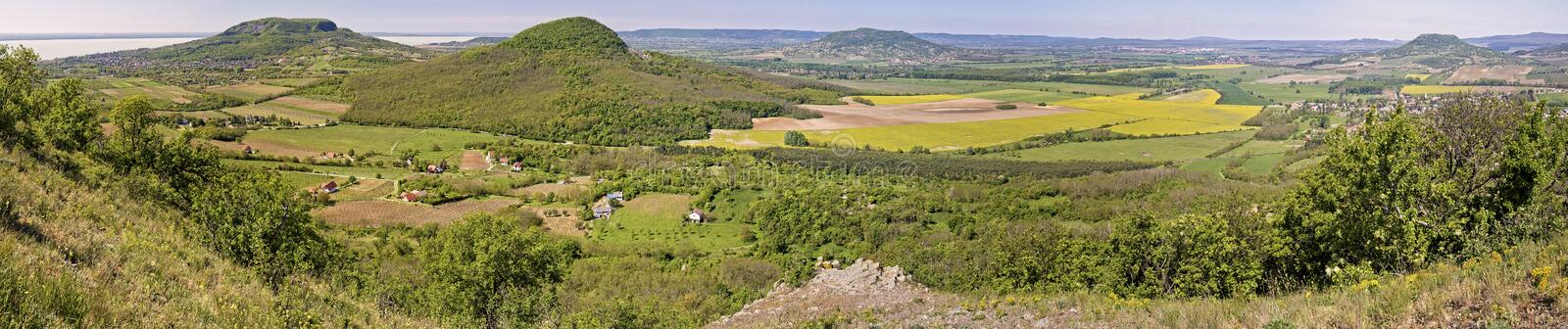 Panorama picture from the volcanoes in Hungary, near the lake Ba. Laton stock photos