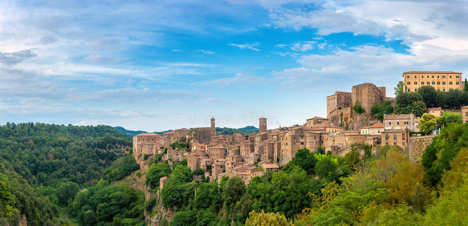 Panorama of the picturesque medieval village of Sorano located on a hill stock photography