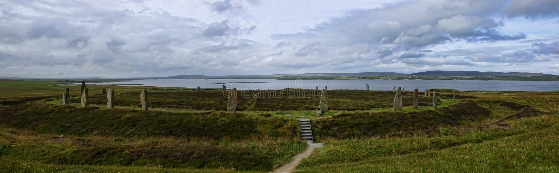 Panorama pierścionek Brodgar w Orkney zdjęcia royalty free