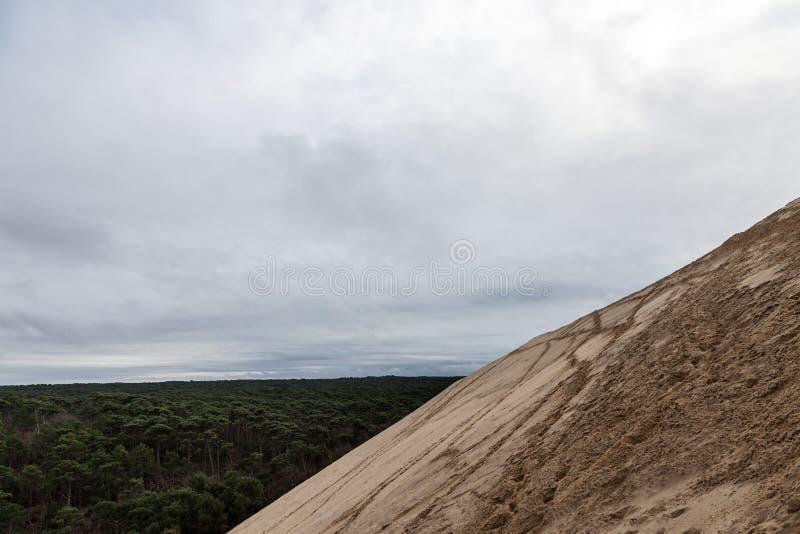 Panorama Pilat Diuna Diuna Du Pilat podczas chmurnego popołudnia z Landes Foret Lasowym des Landes, robić sosny obrazy stock