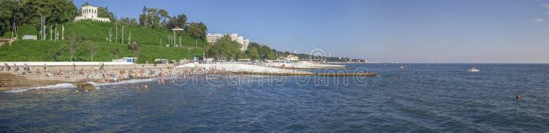 Panorama plaża microdistrict Mamaika, Sochi, Rosja obraz royalty free