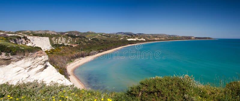 Panorama plaża przy Capo Bianco fotografia stock