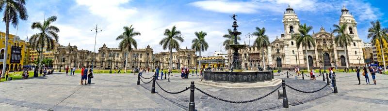 Panorama plac De Armas, Lima w Peru - zdjęcie stock