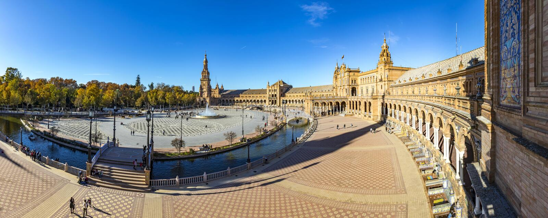 Panorama Plac De Espana w Seville, Andalusia, Hiszpania fotografia royalty free