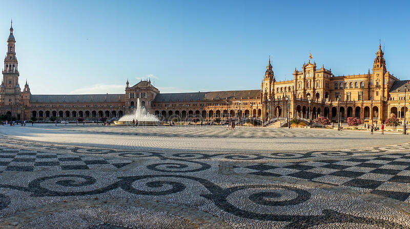 Panorama Plac De Espana w Seville, Hiszpania, Europa obraz stock