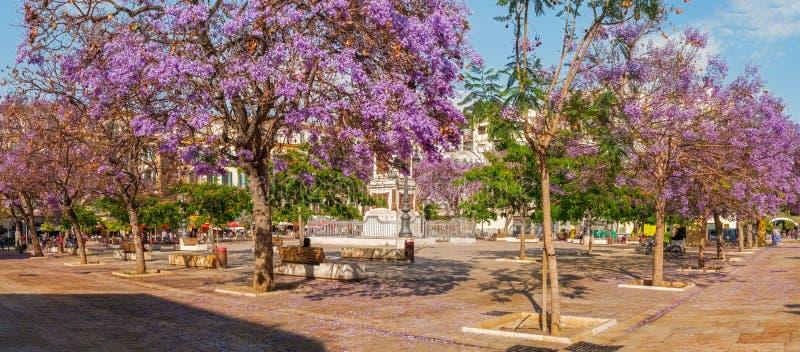 Panorama plac De Los angeles Merced, Malaga fotografia stock