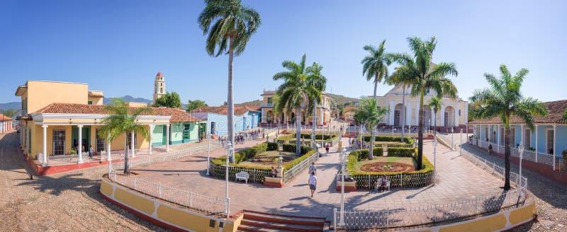Panorama placu Mayor, Trinidad, Kuba obraz stock