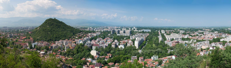 Panorama Plovdiv, Bułgaria obrazy stock