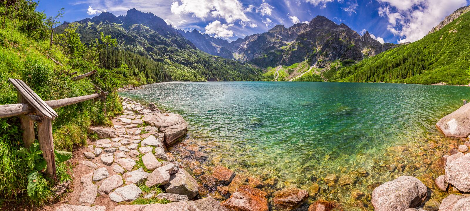 Panorama of pond in the Tatra mountains, Poland. Panorama of pond in the Tatra mountains in Poland stock image