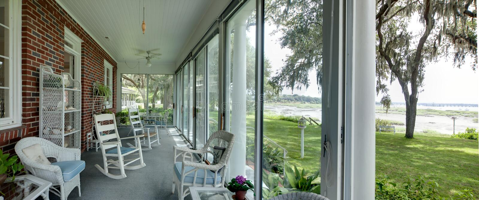Panorama of porch with view royalty free stock image