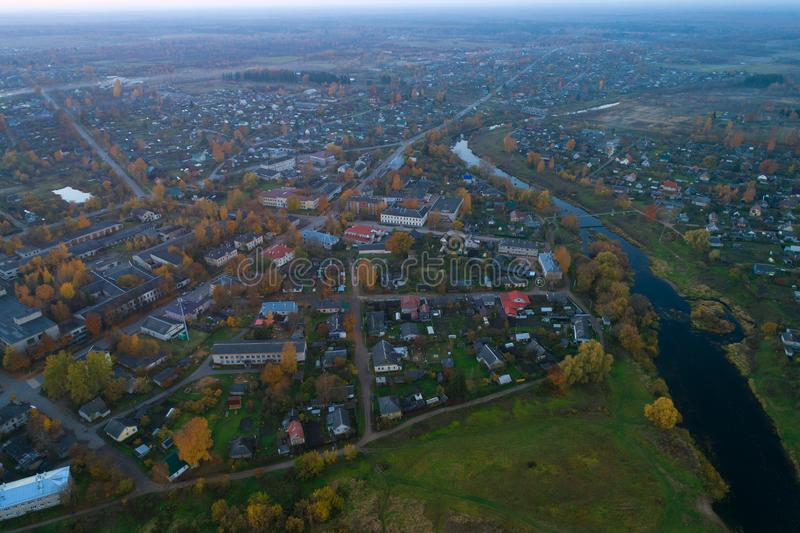 Panorama of the Porkhov, October evening aerial photograph. Pskov region. Panorama of the Porkhov in the October evening aerial photograph. Pskov region, Russia stock photos