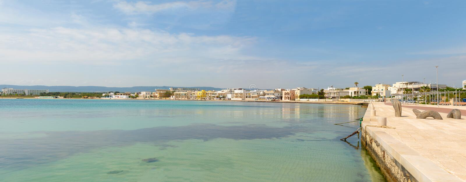 Panorama of Port with cityview of Torre Canne, Fasano in south Italy royalty free stock images