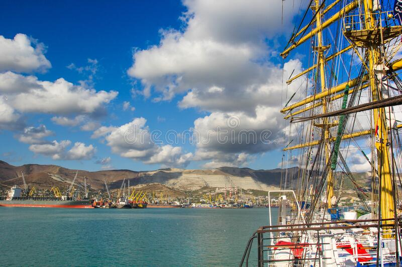 Panorama of the port from the dack of sailing tall ship royalty free stock photo