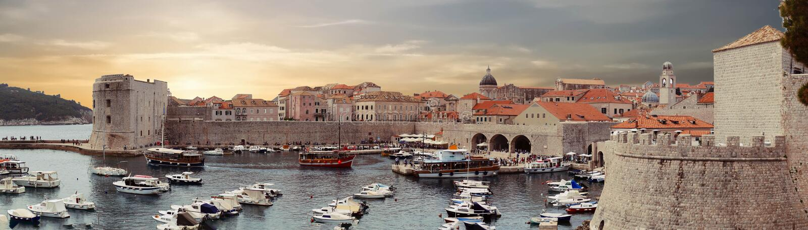 Panorama  of the port of the old city of  Dubrovnik stock photos