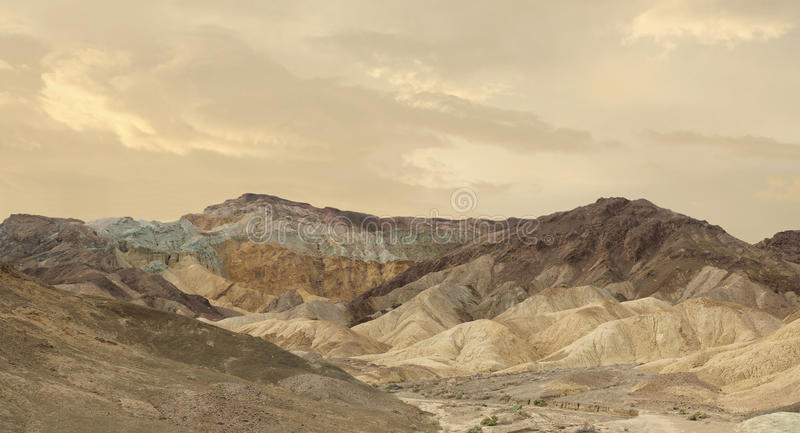 Panorama of A Portion of the Artist Drive in Death Valley. Panorama of a Portion of Artist Drive in Death Valley National Park at Sunset stock photography