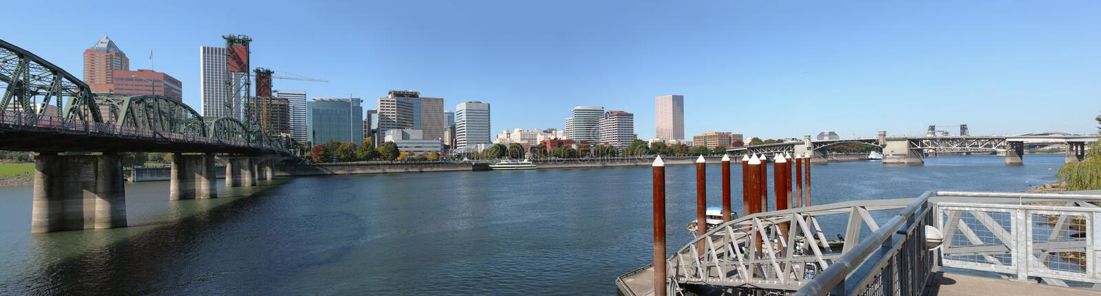 A panorama of Portland Oregon skyline & bridges. royalty free stock photography