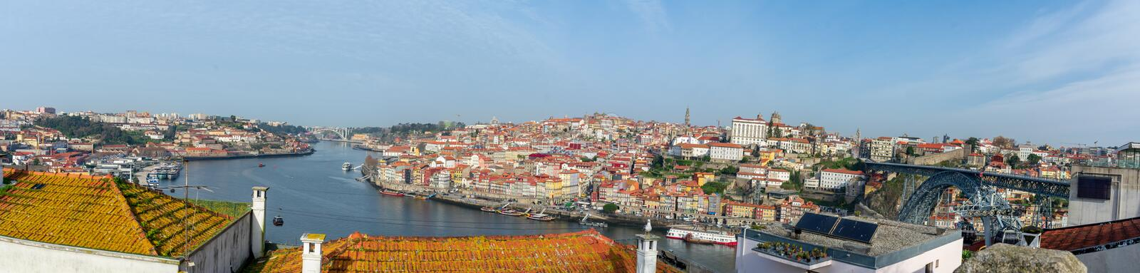 Panorama of Porto center as seen from southern bank of Douro river royalty free stock images