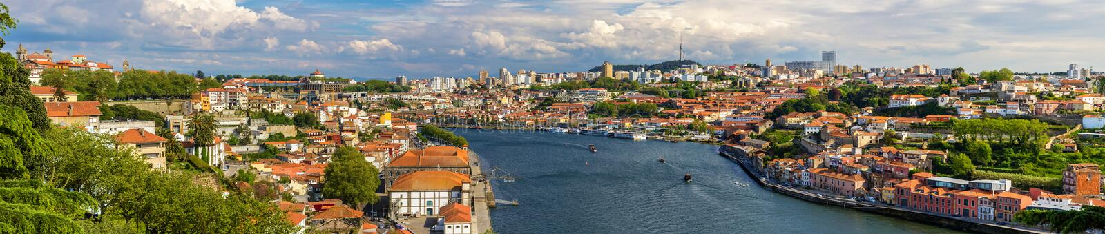 Panorama of Porto and the Douro river royalty free stock image