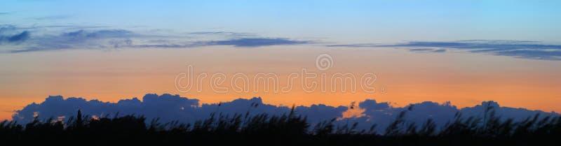 Panorama powolne chmury i pomarańczowy zmierzch nad sylwetkową trawą zdjęcia stock