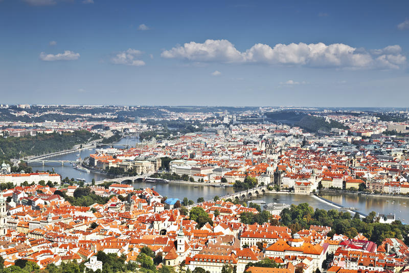 Panorama Praga Odgórny widok fotografia stock