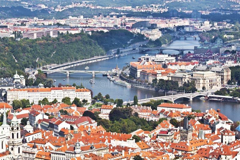 Panorama Praga Odgórny widok obraz stock