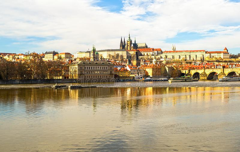 Panorama of Prague Castle residence of the president cathedral of the twentieth century attraction mala strana fortress shore stock photo