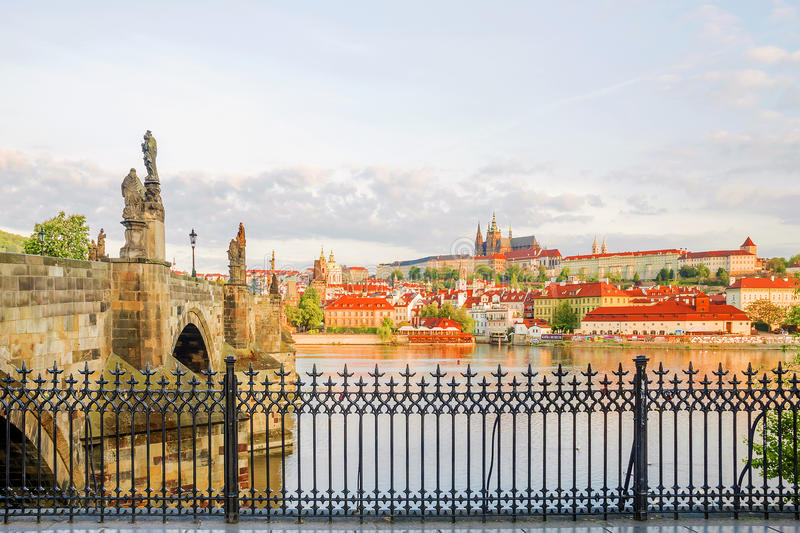 Panorama of Prague in the morning in Prague stock images