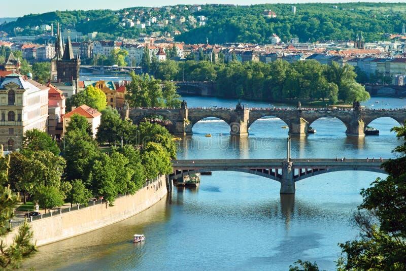 Panorama of Prague`s bridges stock image
