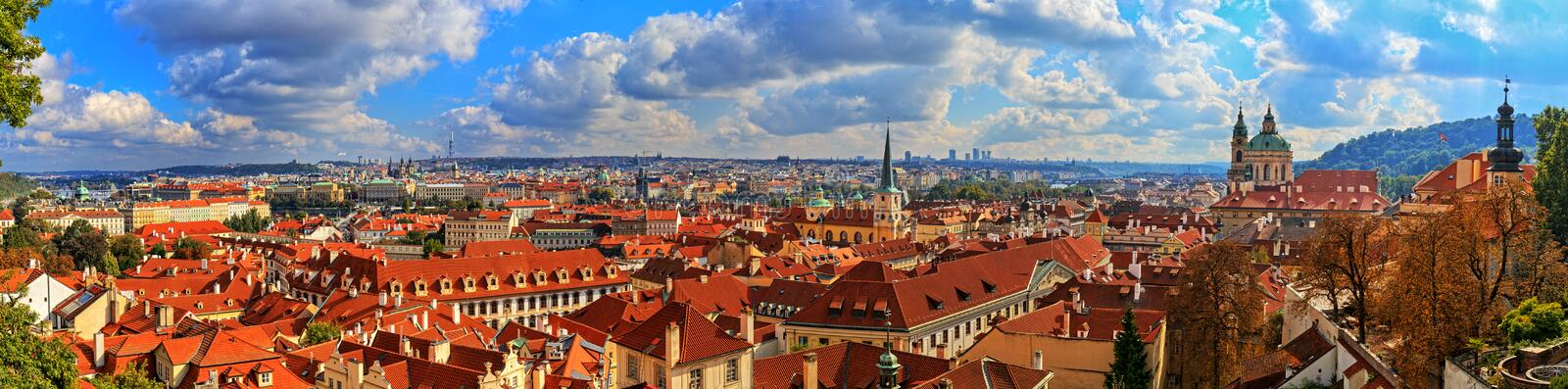 Panorama of Prague on a sunny day. stock image