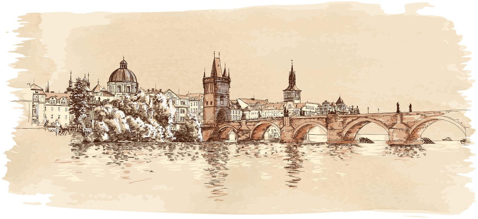 Download Panorama Of Prague. View Of Charles Bridge Royalty Free Stock Photo - Image: 23088075