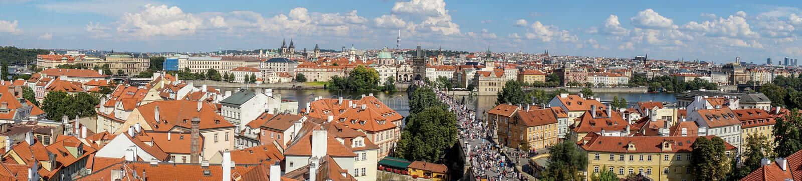 Detail of a building of Prague Castle. Panorama of Prague with the Vltava, the bridges and the old town royalty free stock photo
