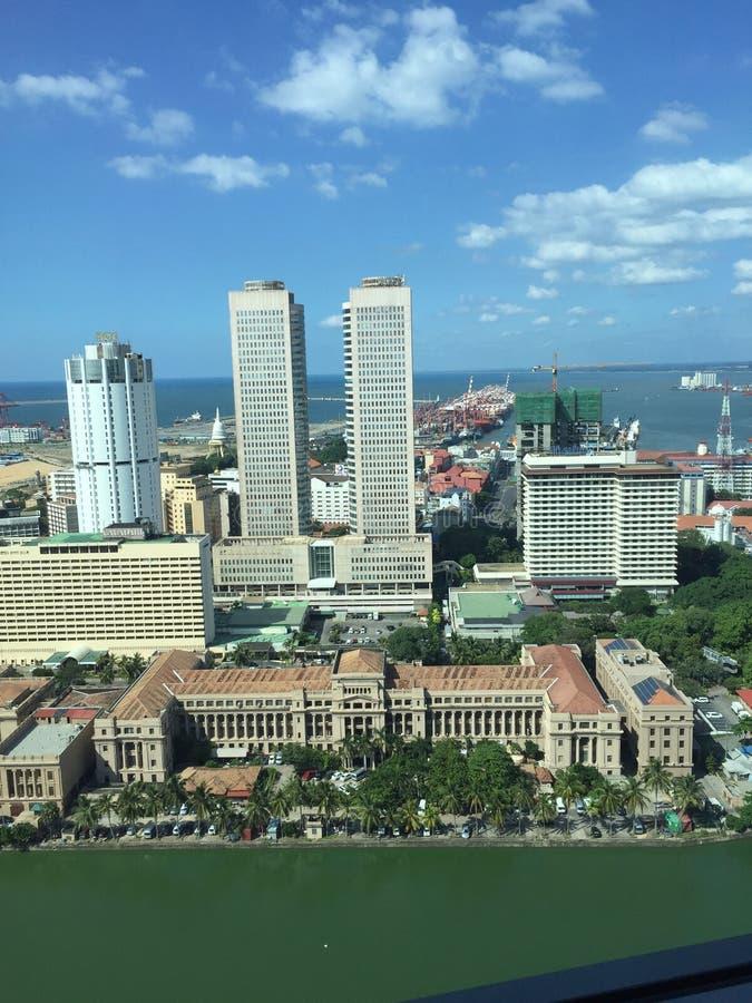 Panorama - Presidentieel Secretariaat en wereldhandelcentrum, Colombo royalty-vrije stock fotografie