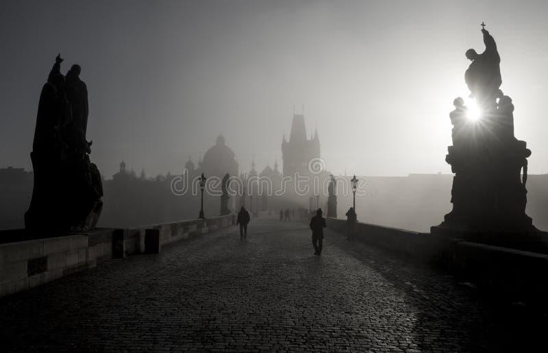 Panorama preto e branco de Charles Bridge em Praga imagem de stock