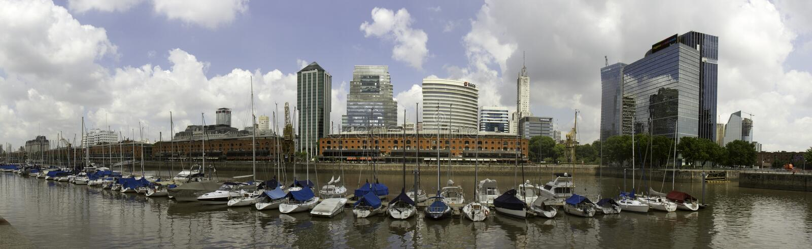 Panorama Puerto Madero, Buenos Aires, Argentina. Panorama of Puerto Madero district in Buenos Aires, Argentina royalty free stock photography