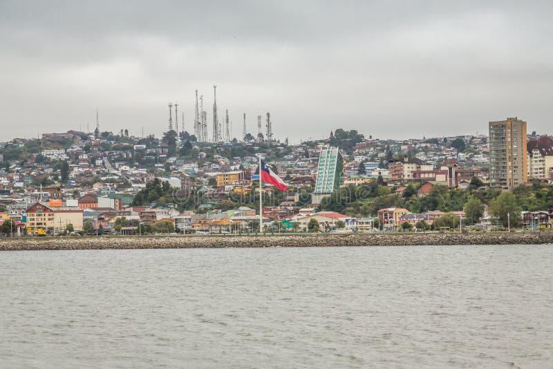 Panorama- Puerto Montt arkivfoto