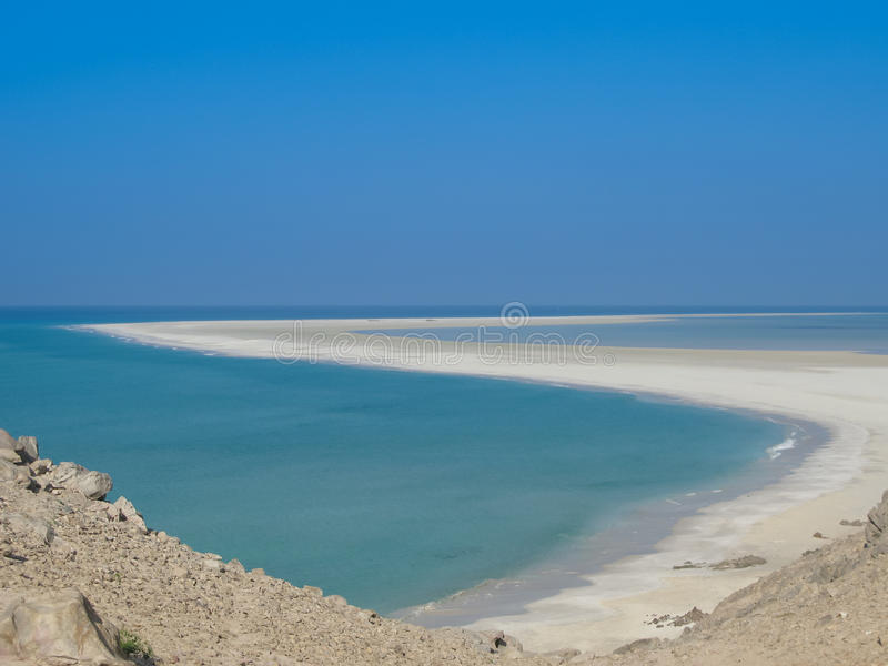 Panorama Qalansiyah piaska biała plaża, Soqotra wyspa Jemen fotografia stock
