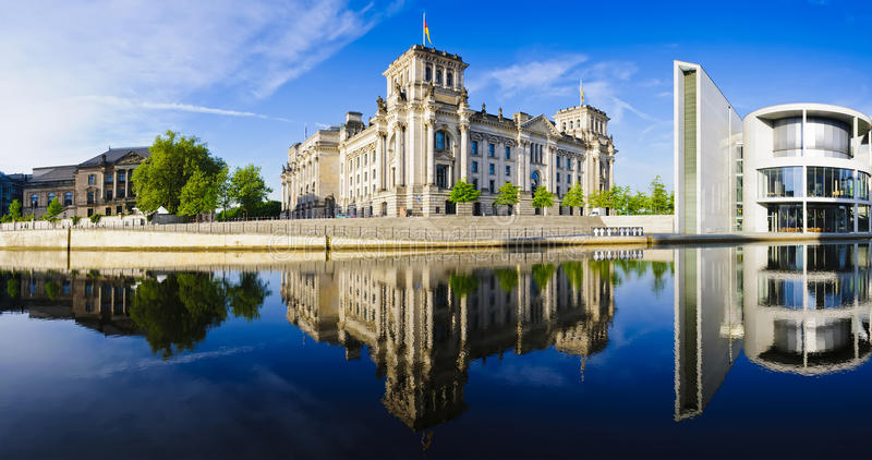 Panorama reichstag in berlin royalty free stock photography