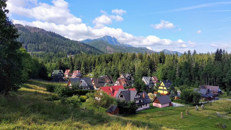 Panorama of the resort city of Zakopane, Poland, High Tatras, view of the Giewont mountain.  royalty free stock image