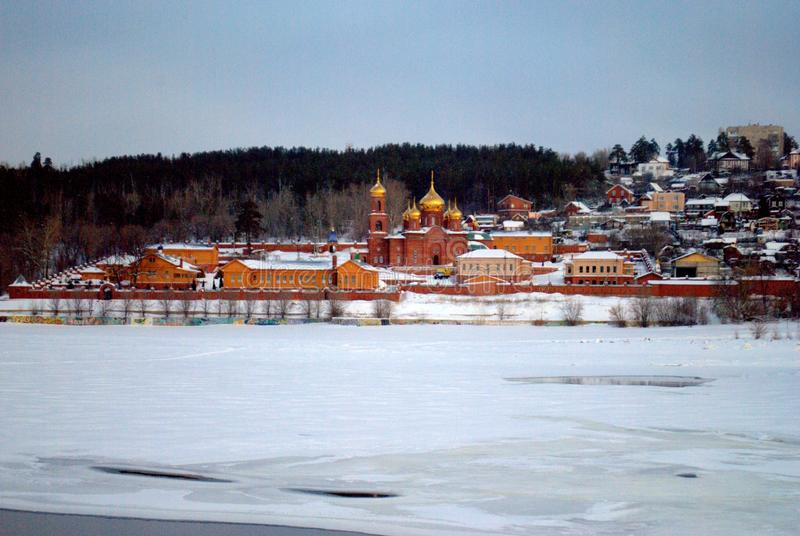 Panorama of the Resurrection Monastery on a frosty winter morning. royalty free stock images