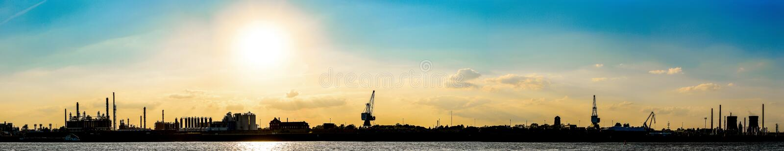 Panorama of Rhein River at Cologne, Germany at sunset stock image
