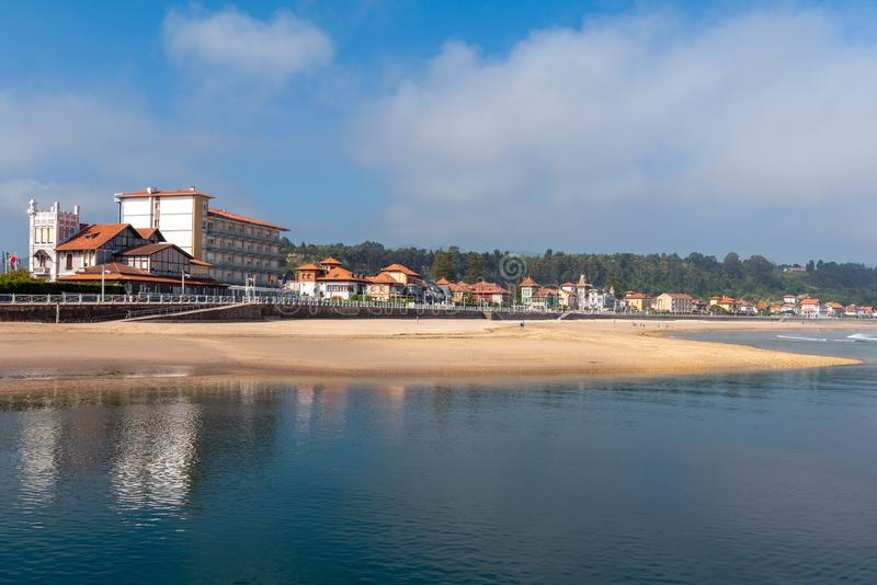 Panorama of Ribadesella village and Santa Marina beach, Asturias, Spain royalty free stock photography