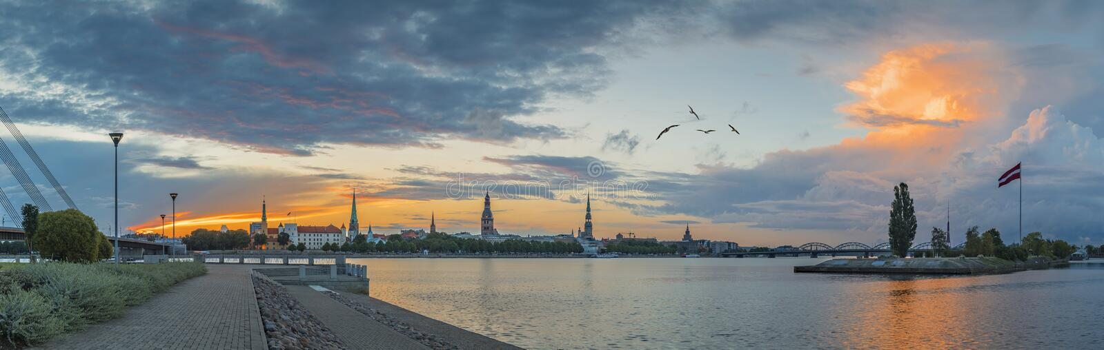 Old Riga with medieval buildings and waterfront, Latvia royalty free stock image