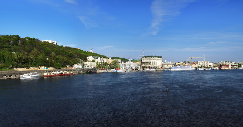 Panorama of the right bank of the Dnieper in Kiev royalty free stock image